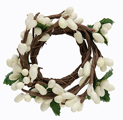 Berry Taper Candle Ring - CWI Gifts 6-Piece 1-Inch Pip Berry Ring Set, Mini, Ivory
