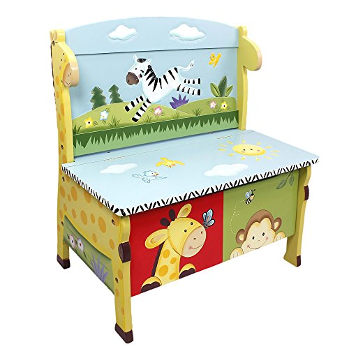 Fantasy Fields - Sunny Safari Animals Thematic Kids Storage Bench  | Imagination Inspiring Hand Crafted & Hand Painted Details   Non-Toxic, Lead Free Water-based Paint -