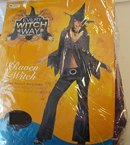 Raven Witch Black Purple Young Adult Costume 7-9 NIP
