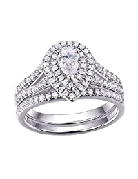 Newshe Woman 1.3ct Pear White AAA Cz 925 Sterling Silver Wedding Engagement Ring Set Size 5-10