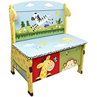 Teamson Design Corp Fantasy Fields - Sunny Safari Animals Thematic Kids Storage Bench  | Imagination Inspiring Hand Crafted & Hand Painted Details   Non-Toxic, Lead Free Water-based Paint