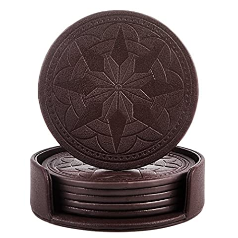 365park Coasters, PU Leather Drink Coasters Set of 6 with Holder for Drinks Glasses