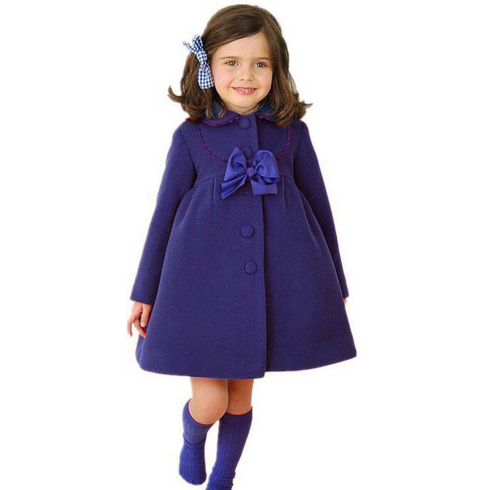 Highdas Little Girls Bowknot Windbreaker Autumn Winter Outwear Dress Coat Red//100