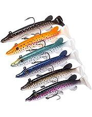 Bassdash zacht badaas Bass zoutwater vissen lokken aas Crank lood vis haken, ingebouwde loodgewicht 4 inches 5 inch, 6-Pack