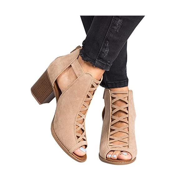 b498ca351be Womens Cutout Open Toe Bootie Sandals Stacked Chunky Block High Heel ...