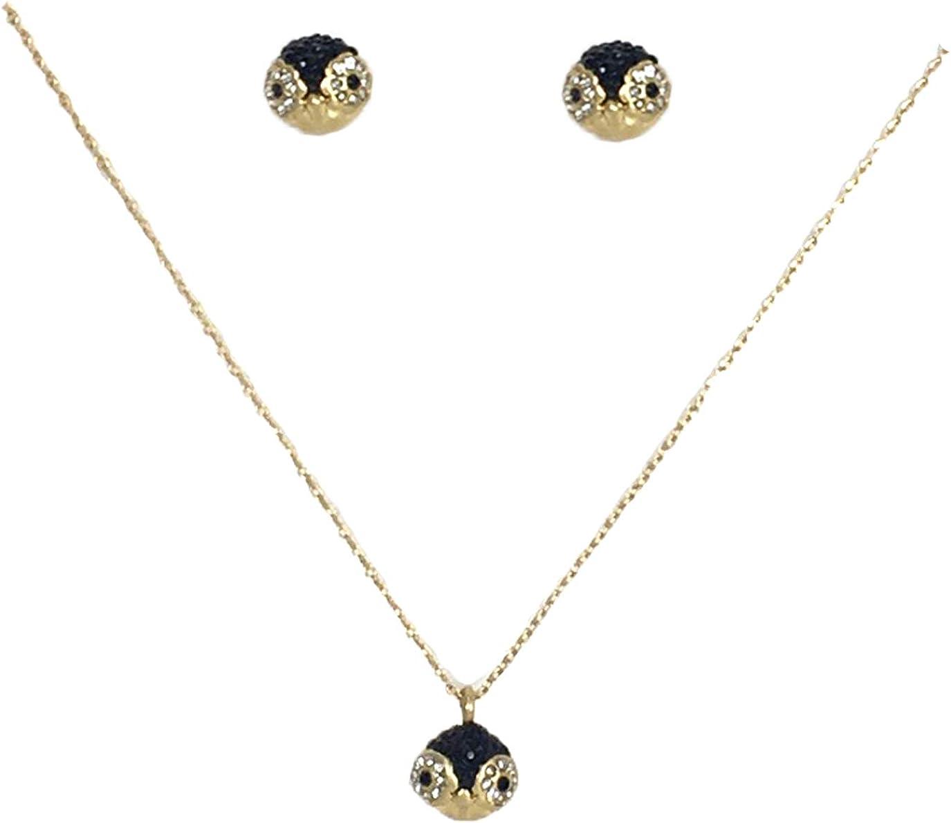 Kate Spade Dashing Beauty Pave Penguin Pendant & Stud Earrings Boxed Set