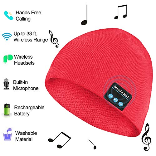 Bluetooth Hat, Bluetooth Beanie for Men Women, Wireless Music Hat with Built-in Stereo Speakers Fit for Outdoor Sports, Christmas(Red)