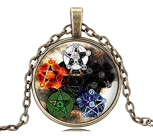 Gemingo New Fashion Star Pentagram Necklace Pentagram Wiccan Necklace Glass Dome Occult Jewelry For Women (Golden)