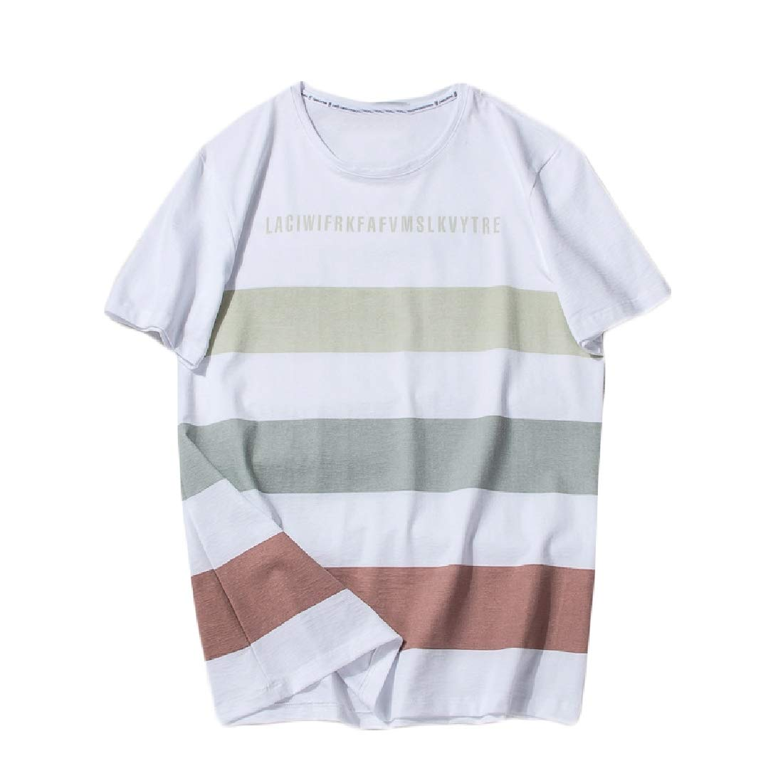 Highisa Men Pure Cotton Short Sleeve Stripes Summer Tee O-Neck Shirts