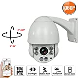 SW SWINWAY IP Camera Speed Dome PTZ Camera 2.0 Megapixel 1080P Outdoor Security Camera with 10X Optical Motorized Pan Tilt Zoom Waterproof Outdoor IR Night Vision Review