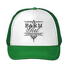 Farm Girl Lives Here Adjustable High Profile Trucker Hat Cap