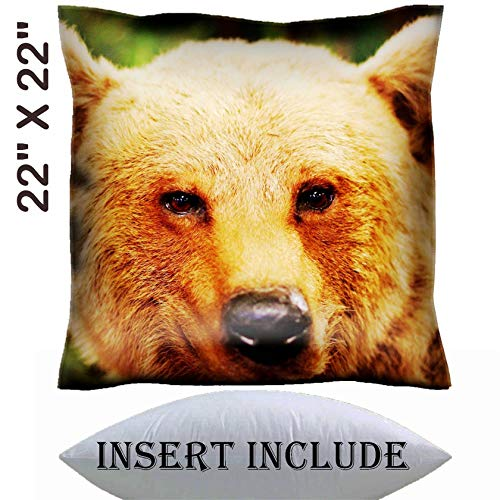 22x22 Throw Pillow Cover with Insert - Satin Polyester Pillow Case Decorative Euro Sham Cushion for Couch Bedroom Handmade IMAGE 21433293 cute face of a brown bear in the middle -