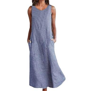 ca6fc9a91e4d9f Damen Maxikleid Ärmellos Sommerkleid Baumwolle Leinen Striped Casual  Kleider Boho Party Kleid Leinenkleid Strandkleid Lang Mit