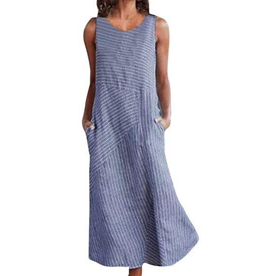 Damen Boho Maxikleid Lose Baggy Sommerkleid Strandkleid Gestreift Lang Kleider