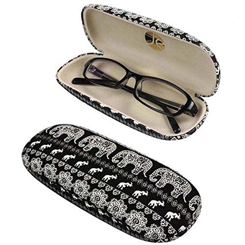 EQLEF® Noir dur de lunettes Case Box Lunettes Avec Cute Elephant Printing pour organiser Lunettes