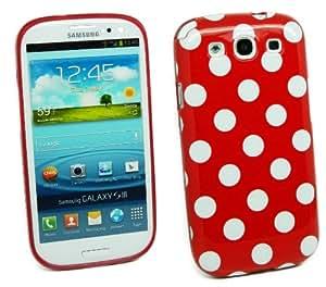 Kit Me Out ES ® Funda de gel TPU + Cargador para coche + Protector de pantalla con gamuza de microfibra para Samsung Galaxy S3 i9300 - Rojo, Blanco Lunares