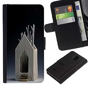 iBinBang / Flip Funda de Cuero Case Cover - House Modern Art Wood Tree Symbolic - Samsung Galaxy S5 Mini, SM-G800, NOT S5 REGULAR!