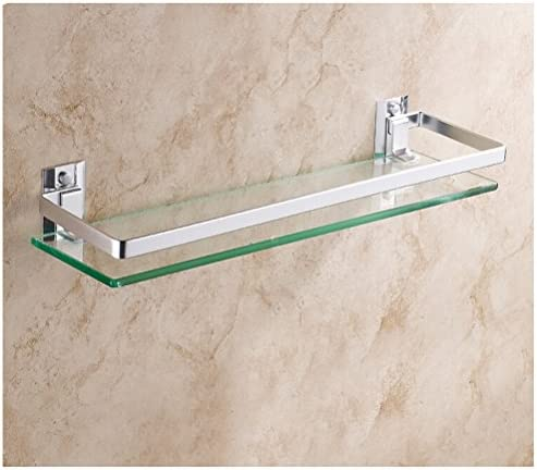 HBlife Aluminum Bathroom Cosmetic Storage Rack Rectangular Glass Shelf