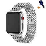 Cywulin Stainless Steel Metal Bands Loop Compatible iWatch 42mm 44mm Apple Watch Series 4, Series 3, Series 2, Series 1 Sports Edition, Fashion Replacement Strap Link Bracelet (42mm/44mm, Silver): more info