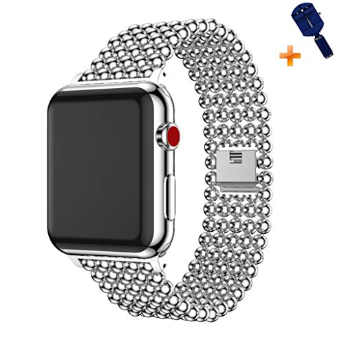 Cywulin Stainless Steel Metal Bands Loop Compatible iWatch 42mm 44mm Apple Watch Series 4, Series 3, Series 2, Series 1 Sports Edition, Fashion Replacement Strap Link Bracelet (42mm/44mm, Silver) ()