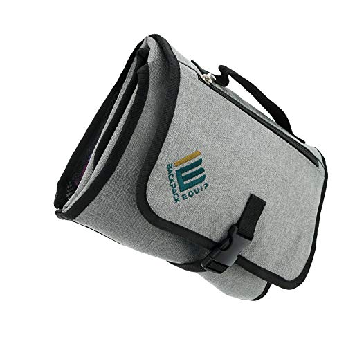 Baby Changing Pad Diaper Bag – Extra Large Portable Changing Pad with Head Cushion – Sleek & Compact Baby Diaper Bag & Baby Mat in One, with 6 Storage Pockets & Wrist Strap – Wipes Clean Easily!