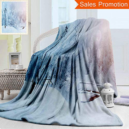 "Winter Wonderland Flannels - Unique Double Sides 3D Print Flannel Blanket Winter Snowy Landscape With Frozen Leafless Trees Icy Snowflakes Hazy Wonderland Pano Cozy Plush Supersoft Blankets for Couch Bed, Throw Blanket 40"" x 60"""