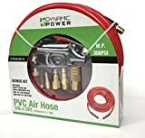 Dynamic Power Rubber/PVC Air Hose 3/8 x 25'/50' (9.5mmI.D X 15M) Bonus Kit with 5 Different Tips, One 1/4 I/M Coupler and Two 1/4 Plugs (RED) (Air Hose 3/8 x 25')
