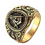 OAKKY Men s Stainless Steel Vintage Masonic Freemason Ring Symbol Member Gold Band Size 9