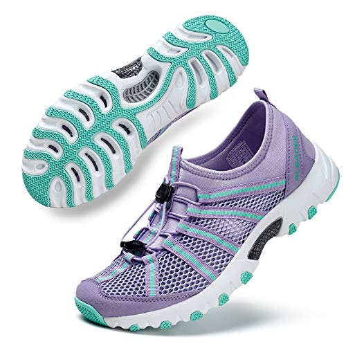 ALEADER Womens Outdoor Breathable Water Hiking Shoes, Wet-Traction Grip Funtional Boating Sneakers Purple 11 B(M) US ()