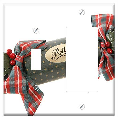 1-Toggle 1-Rocker/GFCI Combination Wall Plate Cover - Christmas Crackers Christmas Xmas Festive Hol