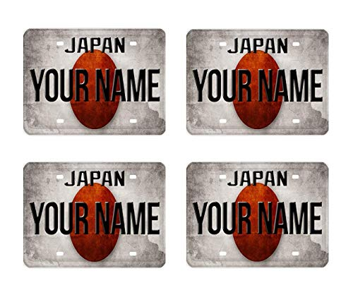 Flag Square Battle (BRGiftShop Personalize Your Own License Japan Flag Country Plate Set of 4 Square Beverage Coasters)
