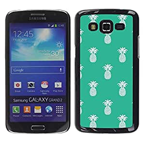 Be Good Phone Accessory // Dura Cáscara cubierta Protectora Caso Carcasa Funda de Protección para Samsung Galaxy Grand 2 SM-G7102 SM-G7105 // Pineapple Pattern 420 Weed Green White
