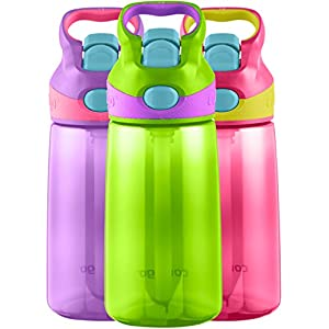Contigo AUTOSPOUT Straw Kids Striker Water Bottle, 14-Ounce, Cherry Blossom/Chartreuse/Amethyst