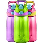 Contigo AUTOSPOUT Straw Striker Kids Water Bottle, 14oz, Cherry Blossom/Chartreuse/Amethyst