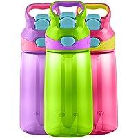 Contigo AUTOSPOUT Straw Striker Kids Water Bottle, 14oz, Cherry Blossom/Chart...