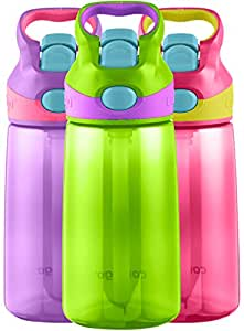 Contigo AUTOSPOUT Straw Striker Kids Water Bottle, 14oz, Cherry Blossom/Chartreuse/Amethyst