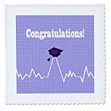 3dRose Beverly Turner Graduation Design - Heart Beat with Grad Cap on Graph Paper, Medical Theme, Purple - 22x22 inch quilt square (qs_262859_9)
