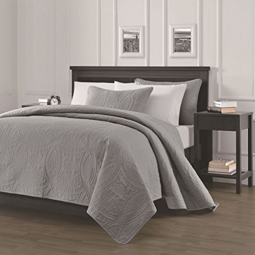 Chezmoi Collection Austin 3-piece Oversized Bedspread Coverlet Set (Queen, Gray)