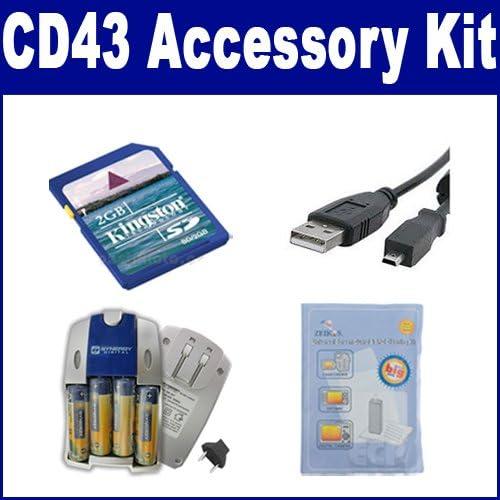 ZELCKSG Care /& Cleaning USBU8 USB Cable KSD2GB Memory Card Kodak CD43 Digital Camera Accessory Kit Includes: SB257 Charger