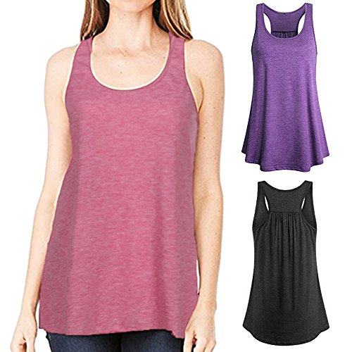 Corriee Womens Casual Solid Color Cotton Tank Blouse Sleeveless Sport Vest Yoga Tee Shirts Ladies Summer Top Pink by Corriee (Image #2)