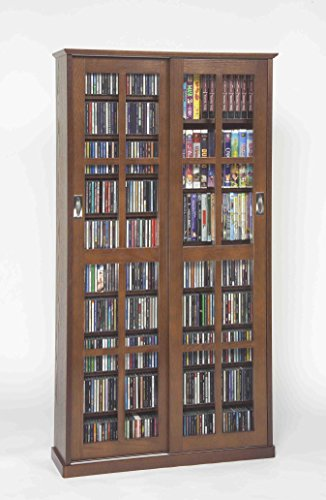 Leslie Dame MS-700W Mission Multimedia DVD/CD Storage Cabinet with Sliding Glass Doors, Walnut (Walnut Cabinet)