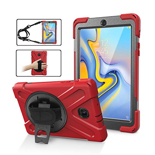 (Galaxy Tab A 8.0 T387 (2018) Case by KIQ Shockproof Heavy Duty Military Armor Hybrid Case Cover Kickstand for Samsung Galaxy Tab A 8.0 2018 SM-T387 (Red))