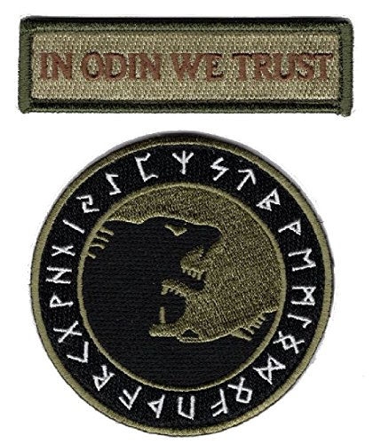 Viking Patch (IN ODIN WE TRUST VIKING GOD WOLF IN GOD VIKING MORALE VELCRO BRAND PATCH)