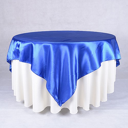 BBCrafts Satin Square Table Overlays- (72 x 72 Inch) (Royal Blue)