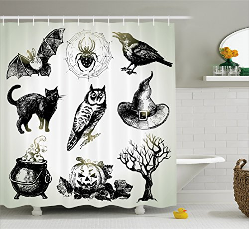 Vintage Halloween Shower Curtain by Ambesonne, Halloween Related Pictures Drawn by Hand Raven Owl Spider Black Cat, Fabric Bathroom Decor Set with Hooks, 70 Inches, Black White (Halloween Photos Vintage)
