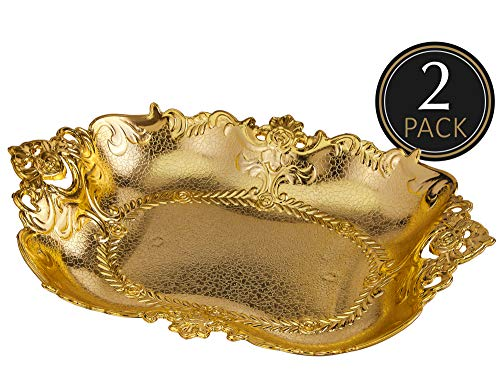 Impressive Creations Reusable Decorative Serving Basket - Plastic Platter with Elegant Gold Finish - Functional and Modern Weaved Design