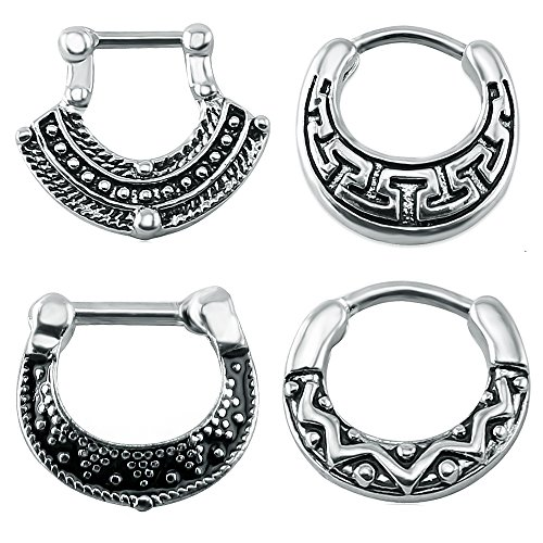 A set of vintage, septum clickers that comes in different designs.