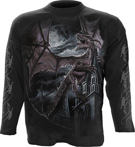Spiral Dragon Kingdom Langarm Shirt, schwarz