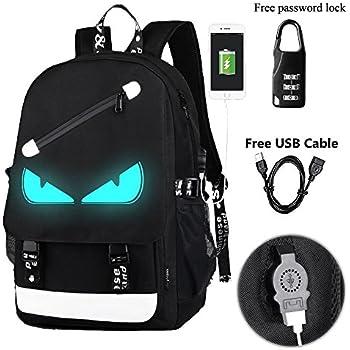 A-MORE Anime Luminous Backpack Noctilucent School Bags Daypack USB chargeing port Laptop Bag Handbag For Boys Girls Men Women (Evil Eye 2)