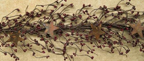 Burgundy Pip Berry Garland w/Stars